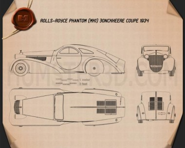 Rolls-Royce Phantom Jonckheere Coupe 1934 Blueprint