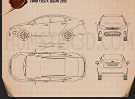 Ford Fiesta Sedan (US) 2012 Blueprint