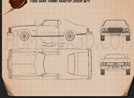 Ford Gran Torino hardtop 1974 Blueprint