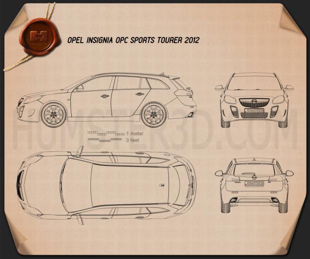 Opel Insignia OPC Sports Tourer 2012 Blueprint