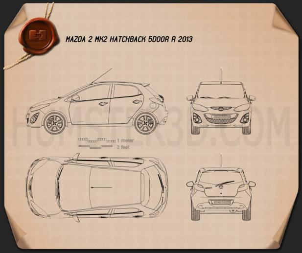 Mazda 2 (Demio) 5门 R 2013 蓝图