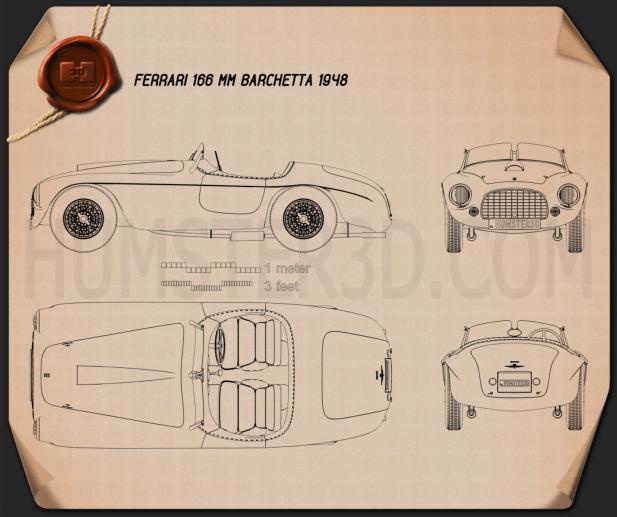 Ferrari 166 MM Barchetta 1948 Blueprint