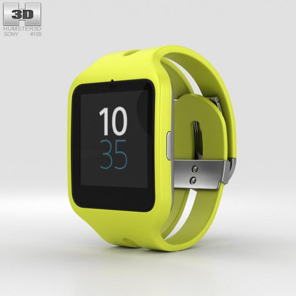 3D model of Sony SmartWatch 3 SWR50 Yellow