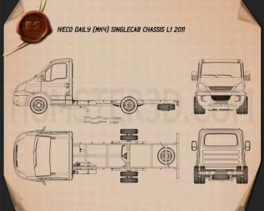 Iveco Daily Single Cab Chassis L1 2011 Blueprint