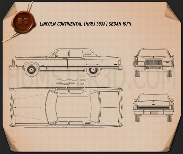 Lincoln Continental sedan 1975 Blueprint