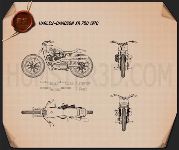 Harley-Davidson XR 750 1970 Blueprint