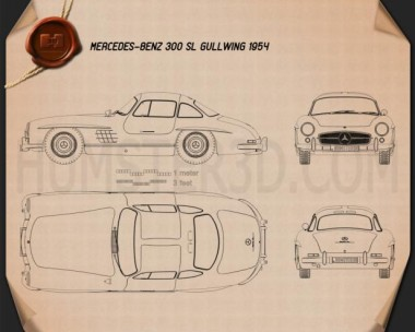 Mercedes-Benz 300 SL Gullwing 1954 Blueprint