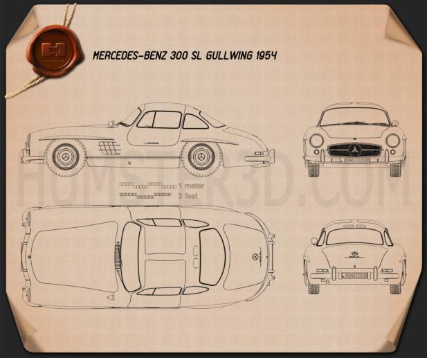 Mercedes-Benz 300 SL Gullwing 1954 Blueprint