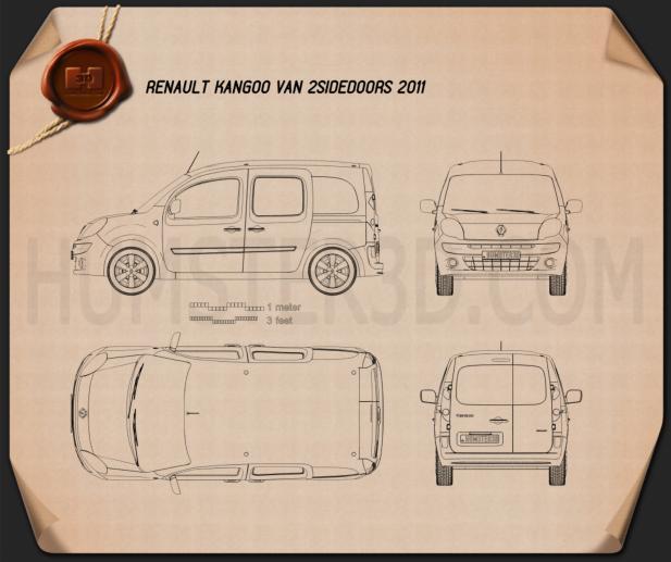 Renault Kangoo Van 2 Side Doors 2011 Blueprint