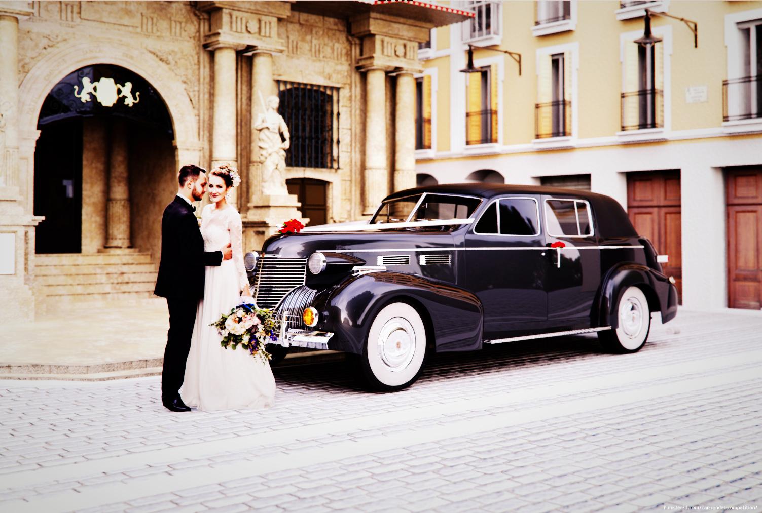 A classic wedding car 3d art