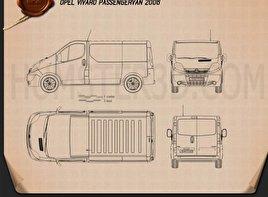 Opel Vivaro Passenger Van 2006 Blueprint