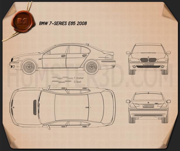 BMW 7 Series (E65) 2008 Blueprint