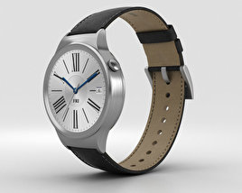 Huawei Watch Stainless Steel Black Suture Leather Strap 3D model