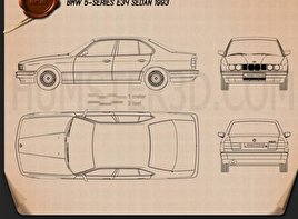 BMW 5 Series sedan (E34) 1993 Blueprint