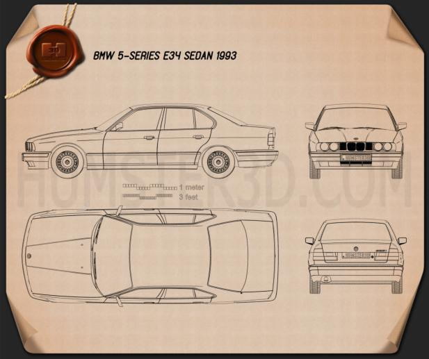 BMW 5 Series sedan (E34) 1993 Blueprint