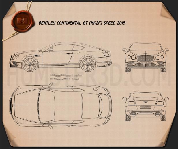 Bentley Continental GT Speed 2015 Blueprint