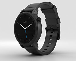 3D model of Motorola Moto 360 2nd Gen Men's 42mm Black Case Black Leather Band