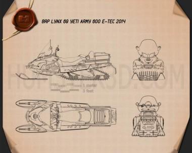 BRP Lynx 69 YETI ARMY 600 E-TEC 2014 Blueprint