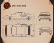 Ferrari Mondial 8 1980 Blueprint 3d model
