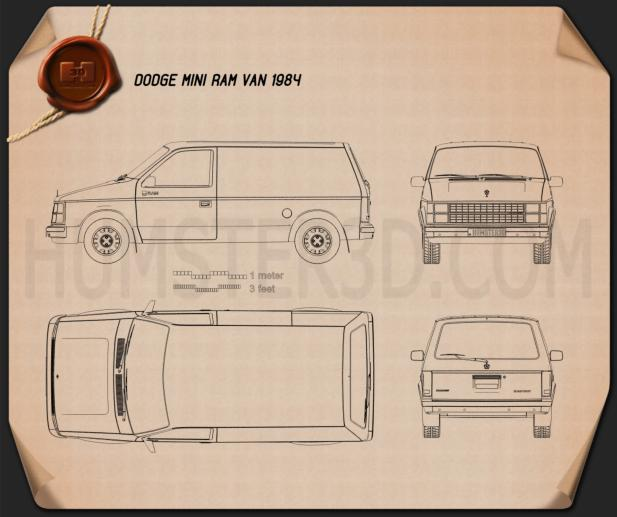 Dodge Mini Ram Van 1984 Blueprint
