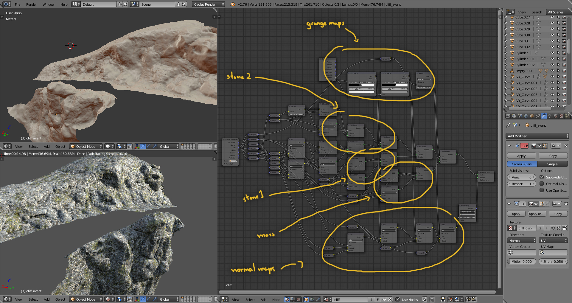 Then I separated the landscape mesh into smaller objects