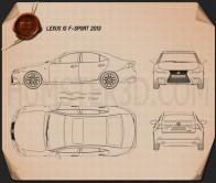 Lexus IS F-Sport (XE30) 2013 Blueprint
