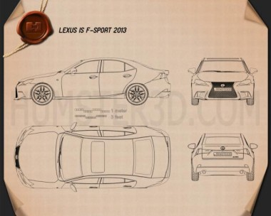 Lexus IS F Sport (XE30) 2013 Blueprint