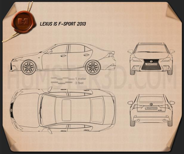 Lexus IS F Sport (XE30) 2013 Blueprint