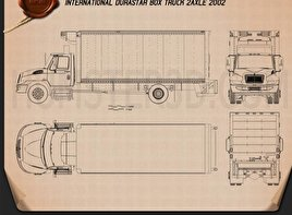 International Durastar Box Truck 2002 Blueprint
