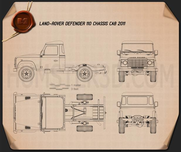 Land Rover Defender 110 Chassis Cab 2011 Blueprint