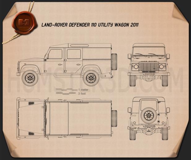 Land Rover Defender 110 Utility Wagon 2011 Blueprint