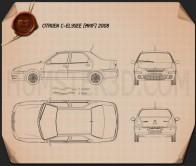 Citroen C-Elysee sedan 2008 Blueprint