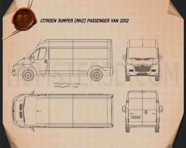 Citroen Jumper Passenger Van 2012 Blueprint