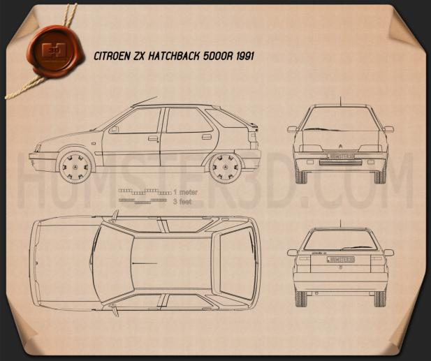 Citroen ZX 5-door hatchback 1991 Blueprint