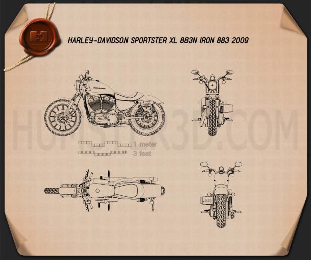 Harley-Davidson Sportster XL 883N Iron 883 2009 Blueprint