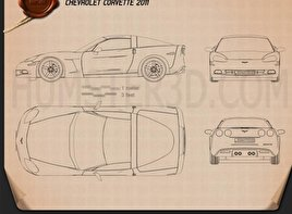 Chevrolet Corvette (C6) 2011 Blueprint