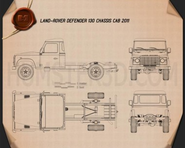Land Rover Defender 130 Chassis Cab 2011 Blueprint