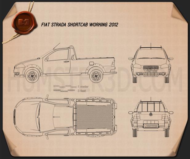 Fiat Strada Short Cab Working 2012 Blueprint