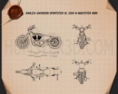Harley-Davidson Sportster XL 1200 N Nightster 1986 Blueprint