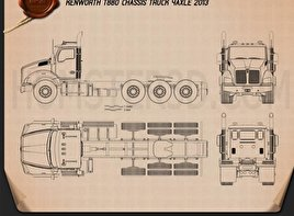 Kenworth T880 Chassis Truck 4-axle 2013 Blueprint
