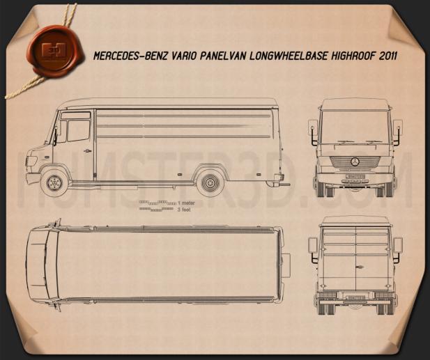 Mercedes-Benz Vario Panel Van LWB High Roof 2011 Blueprint