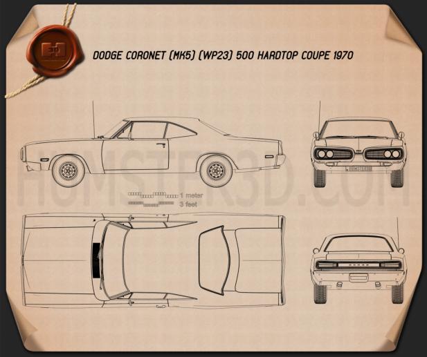 Dodge Coronet hardtop coupe 1970 Plano
