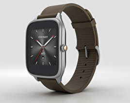 3D model of Asus Zenwatch 2 1.63-inch Silver Case Brown Rubber Band