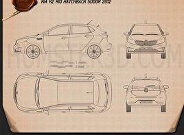Kia Rio (K2) hatchback 5-door 2012 Blueprint