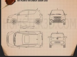 Kia Picanto (Morning) 3-door 2012 Blueprint