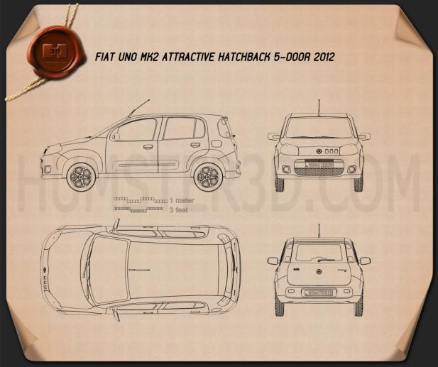 Fiat Uno Attractive hatchback 5-door 2013 Blueprint