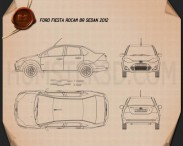 Ford Fiesta Rocam sedan (Brazil) 2012 Blueprint 3d model