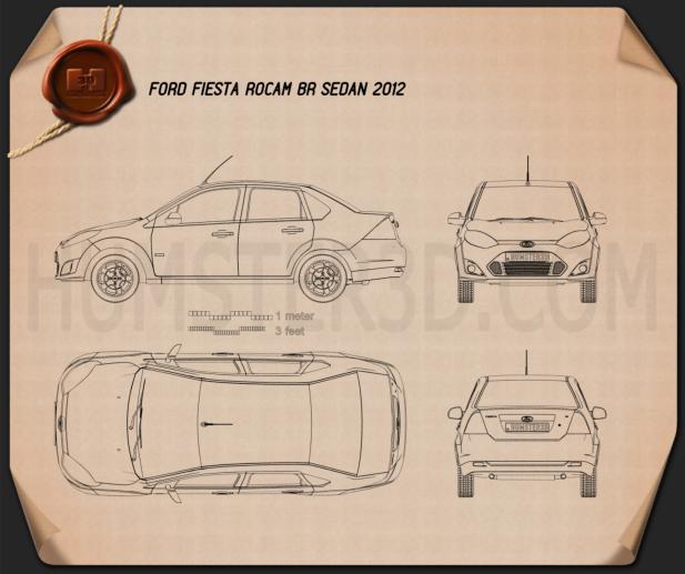 Ford Fiesta Rocam sedan (Brazil) 2012 Blueprint