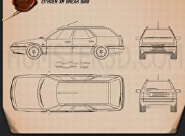 Citroen XM Break 1989 Blueprint