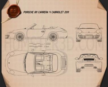 Porsche 911 Carrera 4 Cabriolet 2011 Blueprint